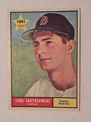 2aea370ff0a23 7 of 10 1961 Topps CARL YASTRZEMSKI   287 Card 55 yr old Boston Red SOX YAZ  EX+ FENWAY