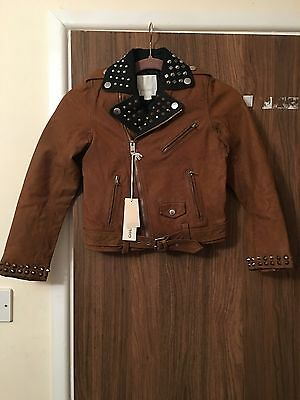 Diesel L-Ulisse Brown Studded Leather Jacket For Boys & Girls 10 Yrs Rrp £399 4