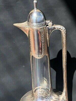 WMF Silver Plate Crystal Pitcher Jug Signed Antique Jugendstil Art Nouveau Deco 9