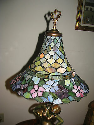 Vtg Deco Victorian Figurine Figural Table Lamp Chandelier Glass Shade Fixture 7