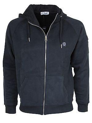 New Foray Mens Hoddie Designer Brand Black Grey Zip Sweater S to XXL