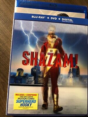 NEW DC Shazam 2019 Blu-Ray & DVD & Digital w Hologram Slipcover Canada Bilingual 3