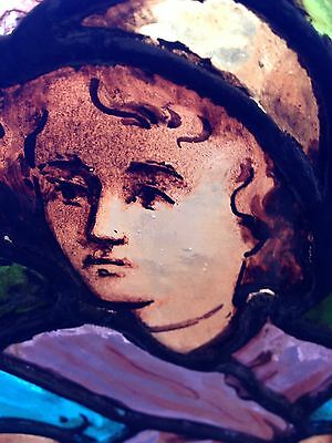 Sg 1 Antique Painted And Fired Signed And Dated 1888 Victorian Lady Window 6