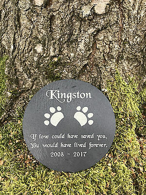 Personalised Engraved Pet Memorial Round Slate Grave Marker Headstone Plaque Dog 2 • EUR 10,93