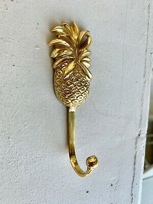 4 small PINEAPPLE BRASS HOOK COAT WALL MOUNT HANG old style 12 cm polished B 10