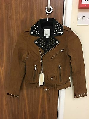 Diesel L-Ulisse Brown Studded Leather Jacket For Boys & Girls 8Yrs Rrp £399 4