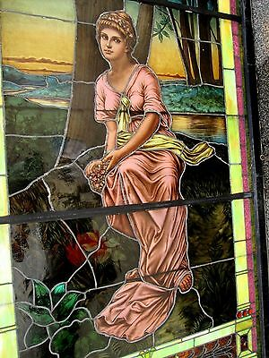 10.5' Monumental Jeweled Antique Stained Glass Portrait Window  Ny Estate # 1 10