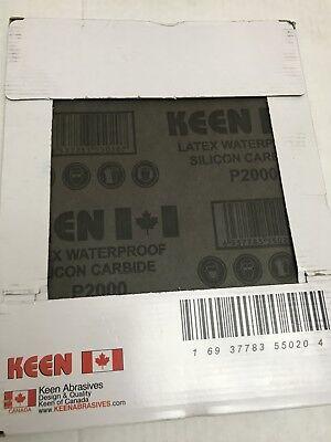 """Box of 50- 2000 Grit FRANCE LATEX Flexible WET DRY SANDPAPER 9""""X11"""" KEEN 50204 2"""