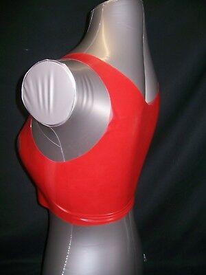 Red Fetish Bondage Latex Rubber Ladies Top 2130 Open Nipple Fem Dom Sexy Slave 4