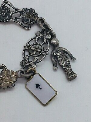 Antique Victorian Sterling Silver Floral Ornate Charm Chain Necklace 7