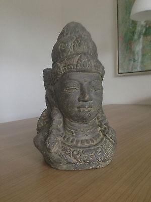 DEWI BUDDHA 28CM BUDHA STEINGUSS GARTEN BÜSTE FIGUR SKULPTUR DEKO TERRASSE TEICH