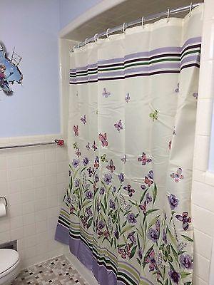 Botanical Butterfly Garden Purple Green Floral Shower Curtain Bathroom Decor 2