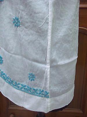 100%cotton Top Blouse Kurta Kurti L 42 Sleeveless Tunic Ethnic Chikan Embroidery