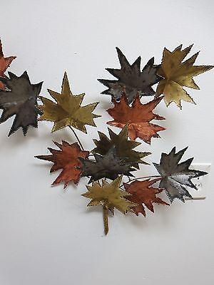 Vintage Mid Century Metal Leaf Leaves Wall Sculpture 7