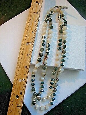 Old Soul Jewelry  Necklace Long  Earthy Agate, Jasper Cream Teal Crystal  NWOT 7