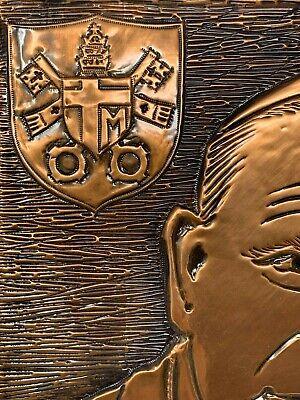 Vintage Católica Papa John Paul 2 Hecho a Mano Cobre Madera Tallado Pared Art 6