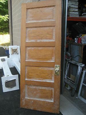 """circa 1900 SOLID oak PANELED door CHICAGO brownstone 83.5"""" x 32"""" x 1.75"""" 8"""