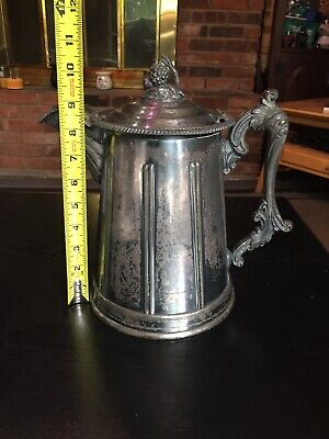 Antique 1858 Meriden Britannia Victorian Silverplated Double Wall Pitcher 12