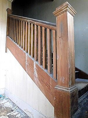 1900s Wooden STAIRCASE Newels Railing Trim Stairs Oak CRAFTSMAN Style ORNATE 3