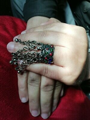 Old Kuchi Ring, Vintage Ring, Afghan Ethnic, Size 7 1/2, Middle Eastern, Chains, 5