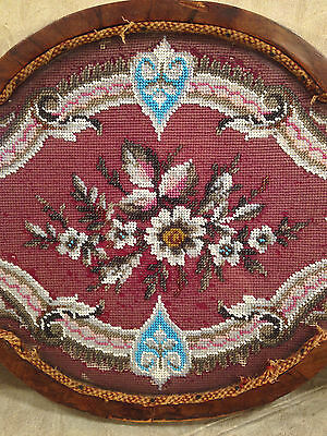 Antique Wooden Center Piece with Veneer Inlay Glass and Embroidery Bead Design 2 • CAD $242.45