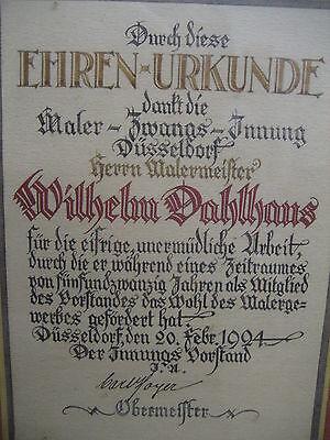 Handgemalte Ehrenurkunde der Maler Zwangs Innung Düsseldorf von 1924 Dahlhaus 4