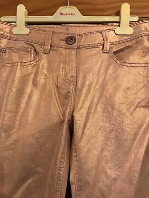 BNWT NEXT Girls PINK SPARKLY STRETCH PARTY JEANS TROUSERS 15 years 3