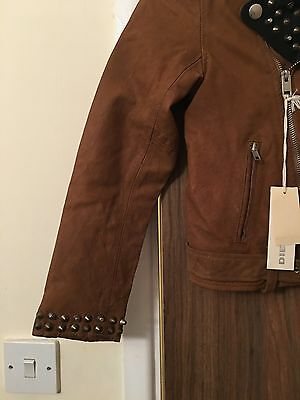 Diesel L-Ulisse Brown Studded Leather Jacket For Boys & Girls 10 Yrs Rrp £399 5