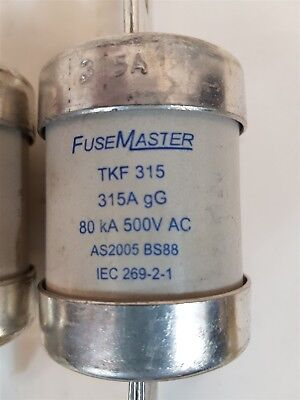 FuseMaster TKF315 Fuse 315A gG 80kA 500VAC AS2005 BS88 - Qty 3 - New 2