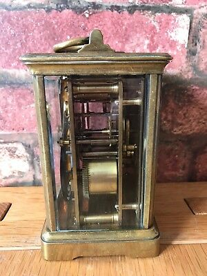 Antique French 1910 Brass & Glass Bevelled Travelling Carriage Mantle Clock 4