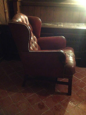 Good Wing Back Chesterfield Style Leather Oxblood Red Vintage Armchair Button 3