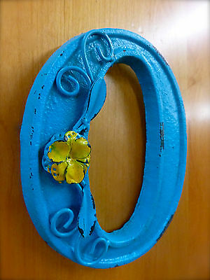 """BLUE CAST IRON WALL LETTER """"O"""" 6.5"""" TALL rustic vintage decor sign child nursery 2"""