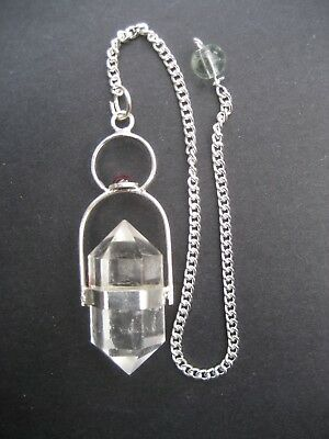 Herkimer Clear Quartz + Garnet Cab Crystal Gemstone w/ Chain Precision Pendulum 6