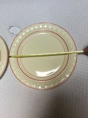 """Vintage Taylor Smith & Taylor Red Striped Art Deco 9"""" Luncheon Plates (2) 3"""