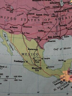 1973 Map: North America Political USA Canada Mexico Original Print 47 Years DT 3