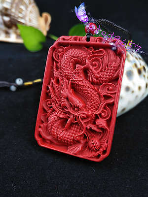 Chinese Natural Red Organic Cinnabar Dragon Necklace Pendant Lucky Amulet Hot RN 3