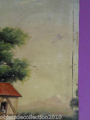 BELLE HUILE SUR TOILE sans cadre HST XVIIIe scène de vie courante MOULIN A EAU