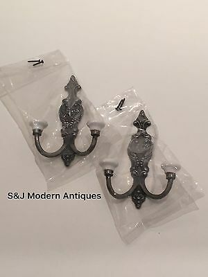 Victorian Iron Double Coat Hook Metal Retro Antique Black Vintage Shabby Chic 10