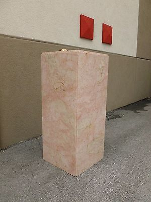Tall Mid Century 70's  Pink Marble Pedestal W Built In Brass Light # 1 - P 3