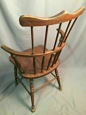 Antique Spindle Back Bow Wood Chair Made In USA 3