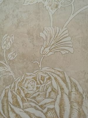 Tapete Designtapete Sand Rosen Cremeweiß Gold antik Glanz Wischtechnik