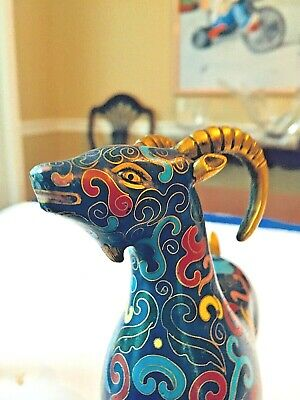 Outstanding Pair of Chinese Cloisonne Goats 12