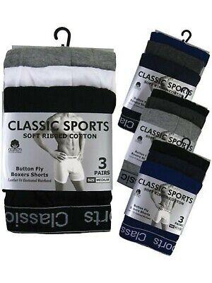 12 Pairs Mens Designer Classics sports  Rib Plain Cotton Boxer Short Underwear 3