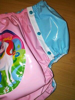 Adult Baby Kleid Windelhose Gummihose Sissy PVC LACK Diaper Plastik EINHORN XL 6