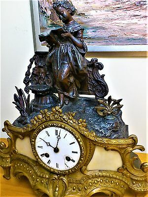 Antique Bronzed & Gilt Metal Figural Mantel Clock. 2