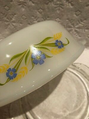 Vintage A-H Fire-King '64-66; RARE FORGET-ME-NOT Clear-Lidded 1 1-2 QT Casserole 6