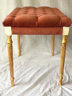 Vintage Regency Chesterfield Style Reproduction Pink Velvet Footstool Gilt Legs 7