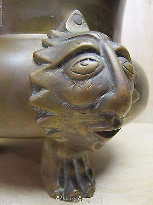 Old Figural Brass Planter Pot Urn detailed heads feet wonderful aged patina 4