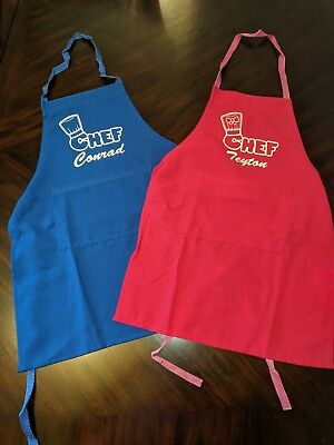 Personalized Kids Chef Apron and Chef Hat Cooking Set | Color Matched Ages 2-13