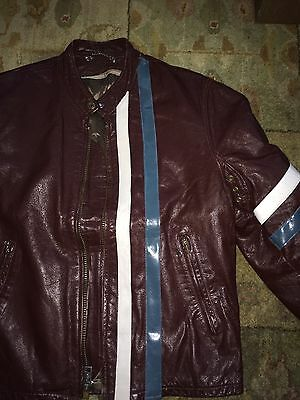 Leather Motorcycle Tunic Mustang Cobra Ford Schott Lemans Jacket Steve Mcqueen